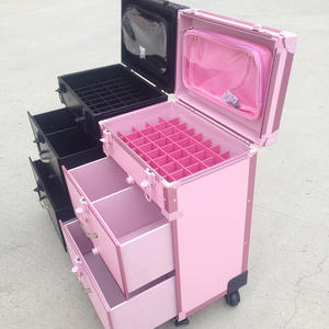 Cosmetic-Case Makeup Rolling-Luggage Tattoo-Trolley Nails Toolbox-Beauty Black Women