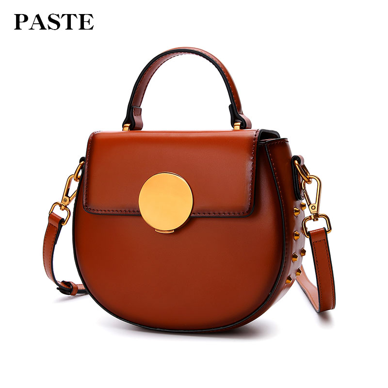 Paste Women Crossbody Bags Leather Shoulder Bag Messenger BagHandbags Soft Flap Small Vintage Round Solid Brand New 2018 p3060 zmqn women shoulder bag candy colors fashion handbags brand small leather crossbody bags for women messenger bag girl zipper 507