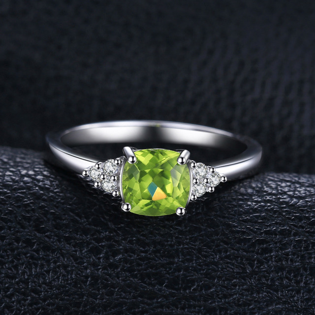 JewelryPalace 1.2ct Cushion Cut Genuine Peridot Gemstone Rings 925 Sterling Silver Wedding Engagement Rings for Women Jewelry