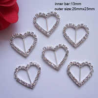 (J0059) 13mm inner bar heart rhinestone buckle(with 23pcs crystals),big size