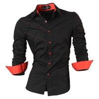 2013 Jeansian Mens Fashion Cotton Designer Cross Line Slim Fit Dress Man Shirts Tops Western Casual