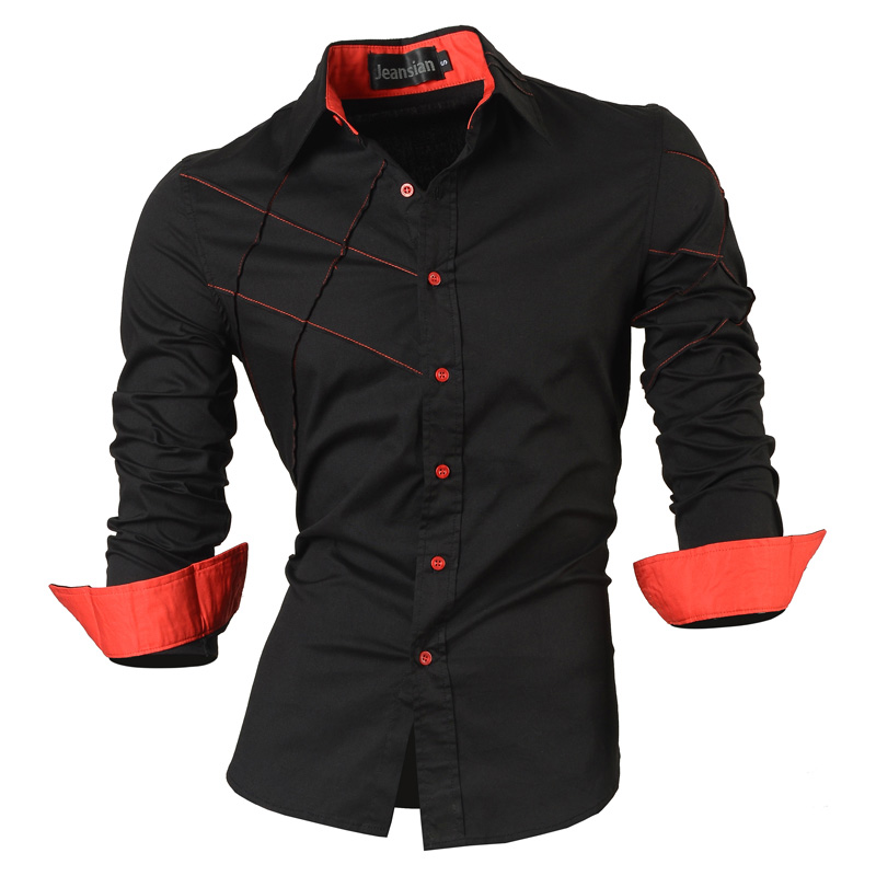 2019 عارضة القمصان اللباس الذكور ملابس رجالية طويلة الأكمام الاجتماعية ضئيلة تناسب العلامة التجارية بوتيك القطن زر الغربي 2028