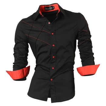 Jeansian camicie casual vestito maschio abbigliamento uomo manica lunga sociale slim fit di marca boutique di cotone pulsante occidentale 2028
