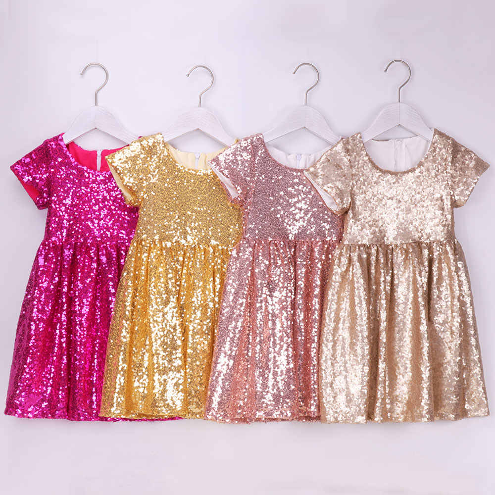 Girls Sequin Dress Toddler Kids Party Sparkle Glitter Dress Birthday Flower Girls Dress Pageant Wedding Dress Baby Short Sleeve
