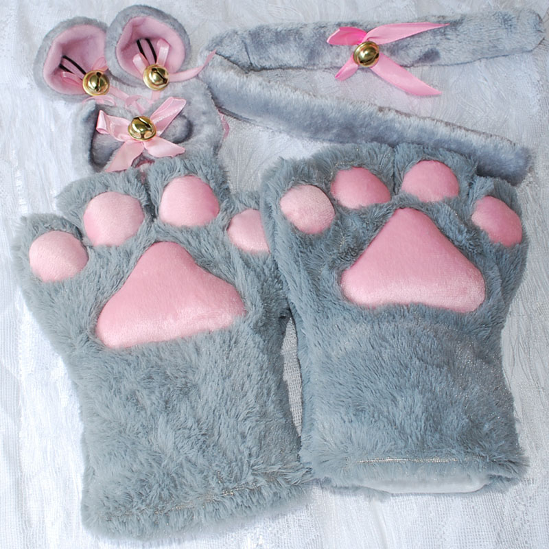 1Set-New-Anime-Cosplay-Costume-Sweet-Cat-Ears-Plush-Paw-Claw-Gloves-Tail-Bow-tie-Halloween (3)