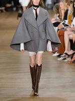 Koyu 2017 Kış Kadın Coat yaka koymak yürümek kruvaze retro mizaç moda yün ceket Pelerin