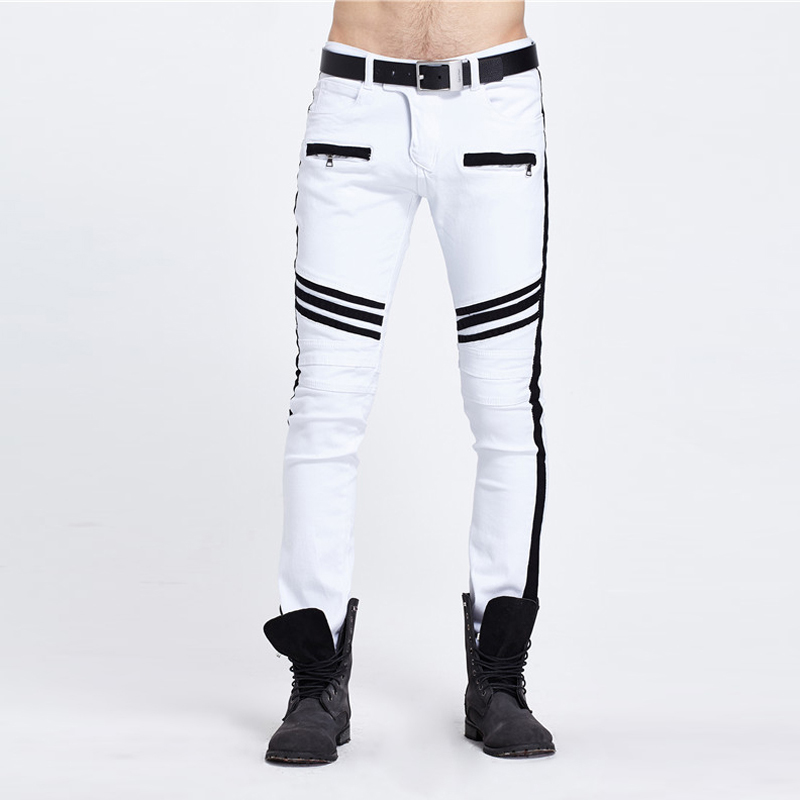 Fashion Mens Pants Wholesale Stitching Fashionable Tide Brand White and Black Panelled Straight Legged Man Jeans Hot sale 2017