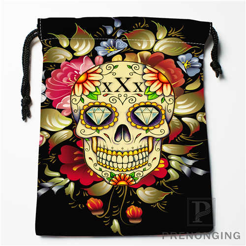 Custom Flower Skull Drawstring Bags Printing Fashion Travel Storage Mini Pouch Swim Hiking Toy Bag Size 18x22cm #171208-08