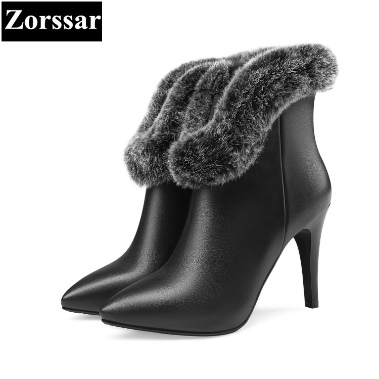 {Zorssar} 2017 new Luxury brand ladies shoes Fashion Rabbit hair pointed Toe High heels ankle boots winter womens snow boots new 2017 spring summer women shoes pointed toe high quality brand fashion womens flats ladies plus size 41 sweet flock t179