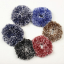 1PC Rabbit Fur Hair Band Elastic Hair Bobble Pony Tail Holder girls accessories hair tools