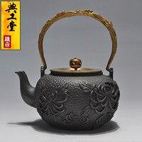 2016 Cast Iron Tea Pot No Coating Japanese Kung Fu Tea Set Handmade Japan Flower Large Capacity Pot With Filter