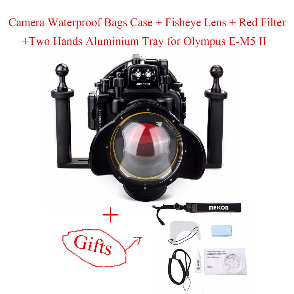 Waterproof Underwater Camera Housing Case for Olympus E-M5 II with 12-50mm Lens+Fisheye Lens+Red Filter+Two Hands Aluminium Tray