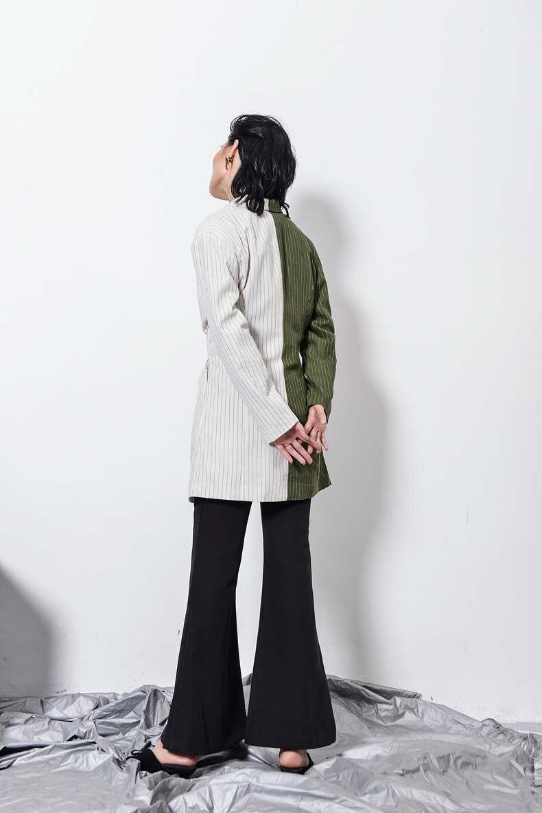 Automne Blue Green Nouvelles 2017 Tous Et Manteaux Longues army Vintage Vestes Rayé Bureau Getsring Les Navy Costume Femmes Manteau Match Blazer Blazers Formelle XwRqff