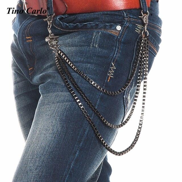 Men Western Cowboy Skull Rifles Hat Bone Jeans Waist Key Chain Goth Wallet Chain 3 Strands Gunmetal Punk Skeleton Chains KB69