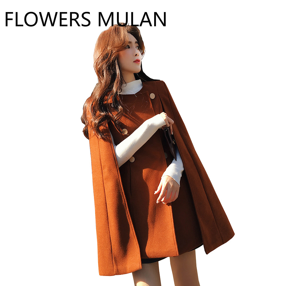 New Designers Black Tan Color British Style Woolen Cloak Coat Female Abrigos Mujer Invierno 2018 Womens Tops and Blouses