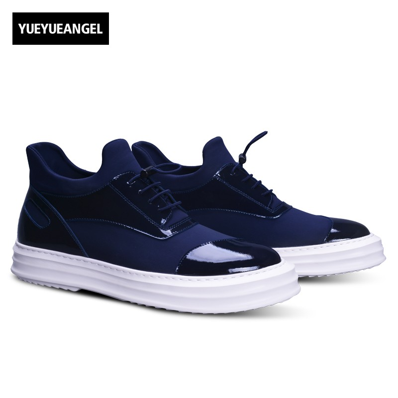 Top Quality Genuine Patent Leather Autumn New Fashion High Heel Lace Up Mens Casual Shoes Male Footwear Korean Style Multi Color zapatos hombre sapato masculino couro new fashion high quality brand lace up genuine leather mens casual shoes multi color blue