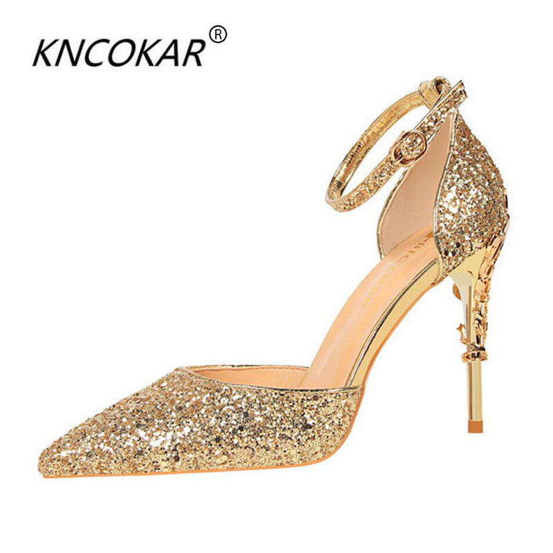 KNCOKAR2018 Korean version of spring and summer new womens shoes crystal silver high heels with 100 sexy sequins princess weddiKNCOKAR2018 Korean version of spring and summer new womens shoes crystal silver high heels with 100 sexy sequins princess weddi