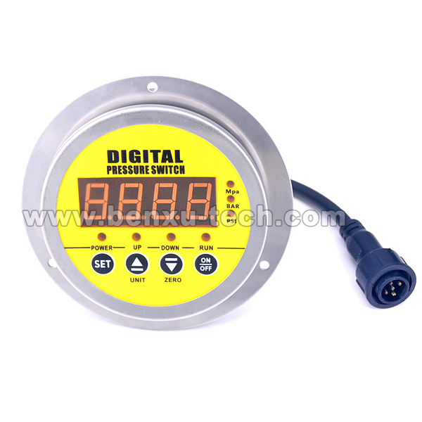 Axial Mounting Stainless Steel Case Intelligent Digital Pressure Switch for Air Compressor or Water Pump