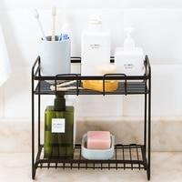 2 Layers Iron Bathroom Organizer Shelf Spice Basket Desk Storage Holder Rack Condiment Holder Storage Rack Kitchen Accessories