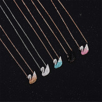Free Shipping New Promotion Fashion Jewelry Silver Color Chain Crystal From Swarovski For Women Swan Necklace
