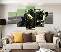 5 Pcs Of Canvas Art Modular Picture VR46 Rossi Motorcycle Poster HD Print On Canvas For
