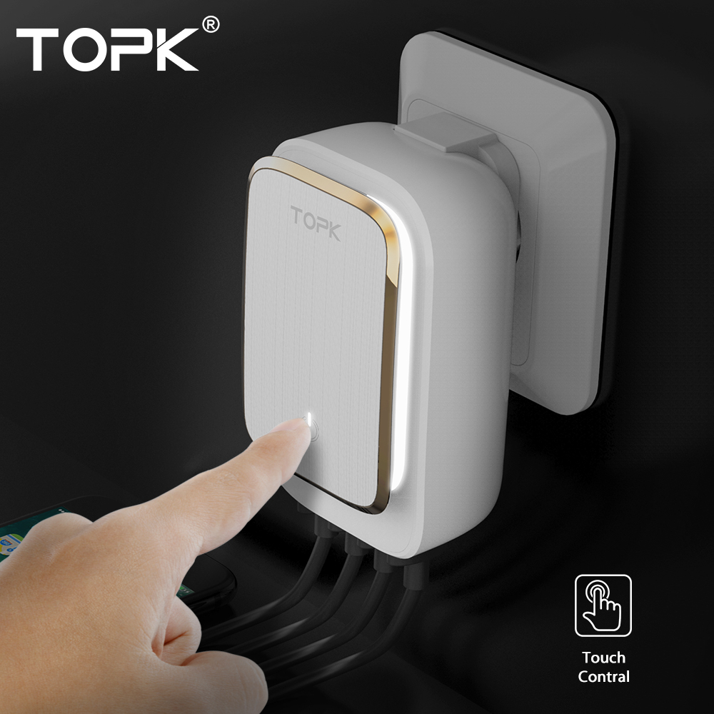 Chargeur USB 22W TOPK 4 ports EU/US/UK/AU lampe à LED adaptateur mural de voyage Auto-ID chargeur universel pour téléphone portable