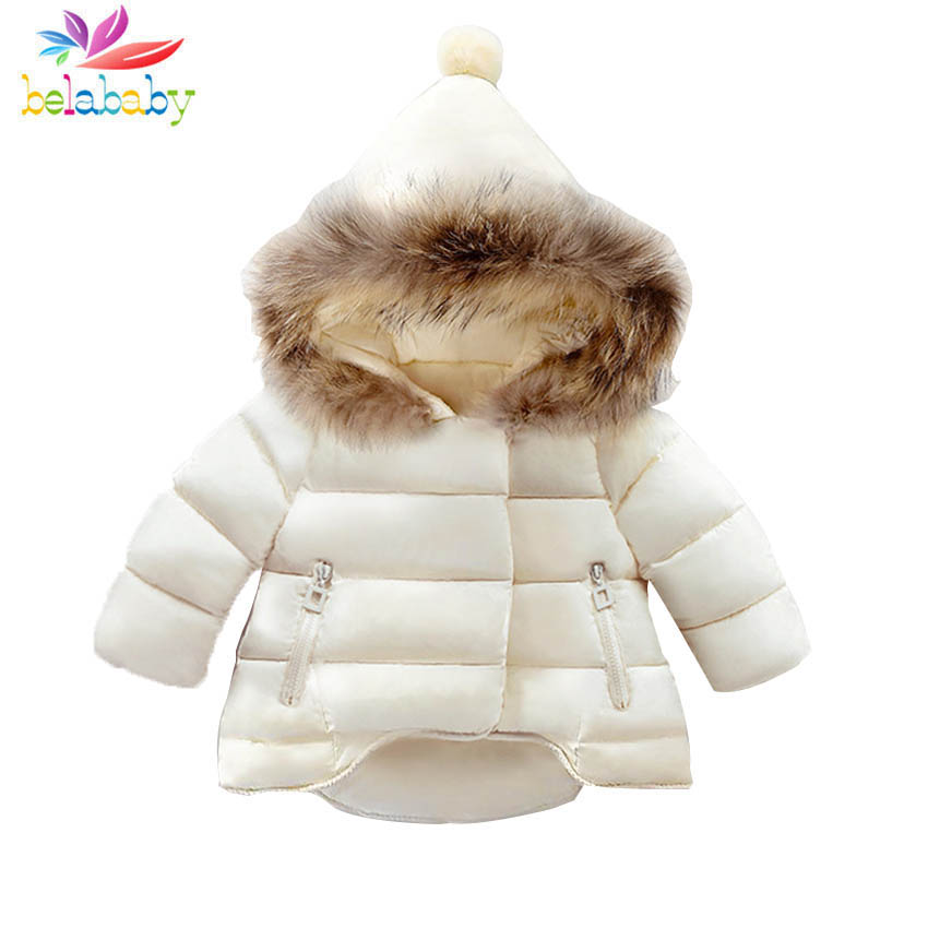 Belababy Children Winter Coat Real Fur Collar&Pointed Cap Kid Warm Down Jacket Baby Solid Outerwear Clothes Infant Frill Costume платье frock and frill frock and frill fr055ewdlds8