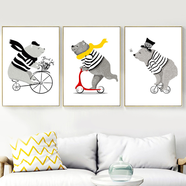 Cartoon Bear Bicycle Nordic Posters And Prints Wall Art