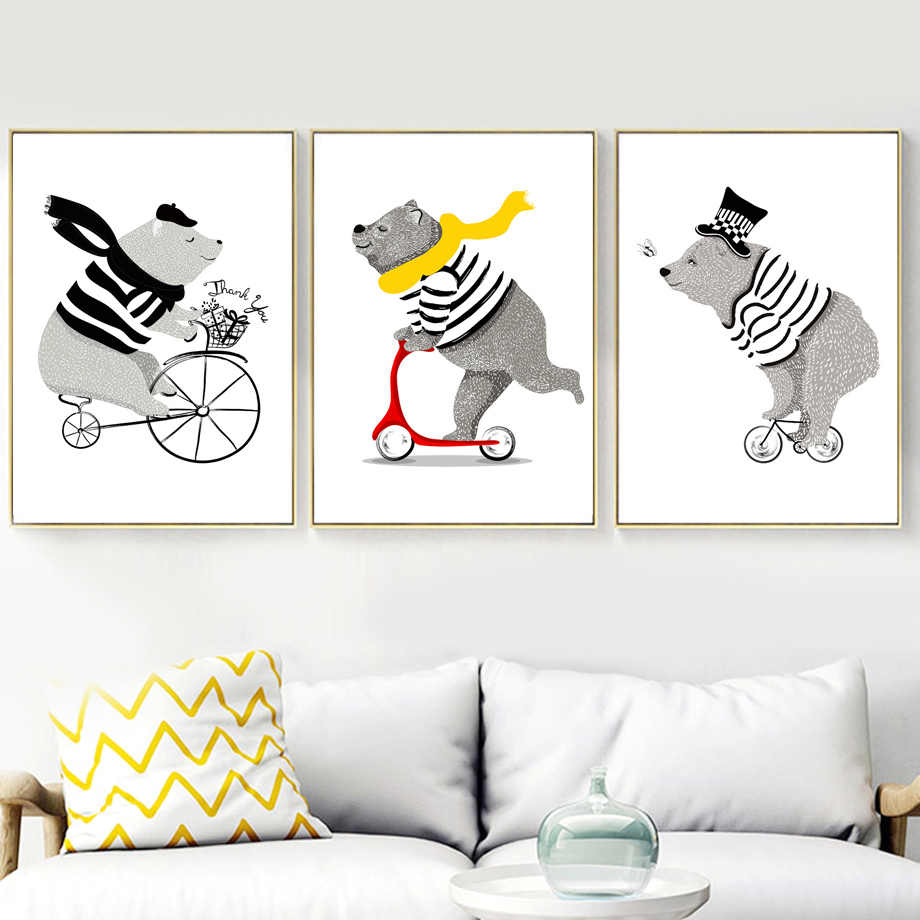 Cartoon Bear Bicycle Nordic Posters And Prints Wall Art Canvas Painting Nursery Art Prints Wall Pictures For Kids Room Decor