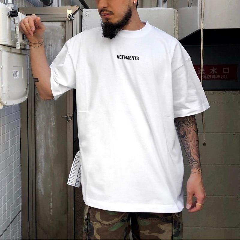 Oversized Vetements T Shirt Men Women Streetwear Large Washing Label Summer Style Cotton T-Shirt Harajuku Vetements Tshirt