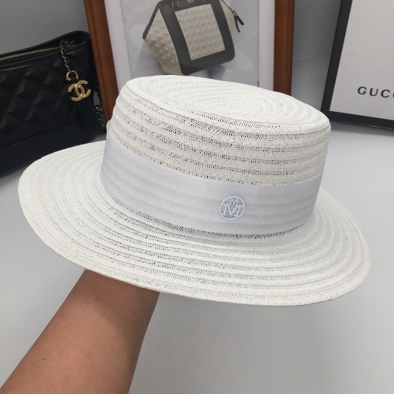 Sun hats straw hat female summer linen lafite grass white flat hat