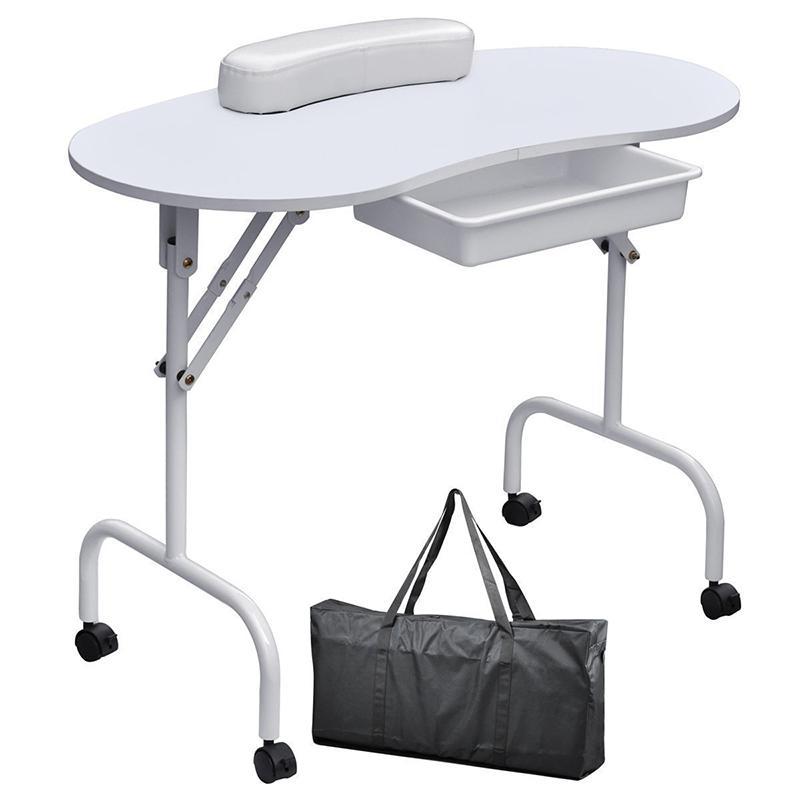 Портативный маникюрный Маникюрный Стол для ногтей, стол, спа-салон красоты, оборудование для ногтей, складной столик для ногтей, черно-белый - Цвет: 2