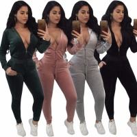 SUWA Winter New Offer Velvet Jumpsuit Long Sleeve Two Piece Rompers Women Jumpsuit Full Length Bodysuit Outfit CM131