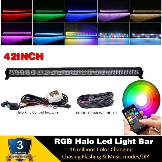 3//4//14//20//22//32//42//50INCH 288W Offroad Led Light Bar Bluetooth RGB Halo Chasing
