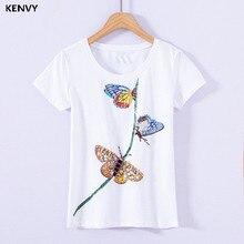 KENVY брендовая модная женская Высококачественная Роскошная летняя хлопковая футболка с коротким рукавом, украшенная бусинами и стразами, с бабочкой и блестками
