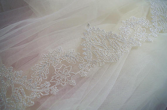 10yards metallic silver lace trim, silver embroidered lace trim, silver lace  border, silver