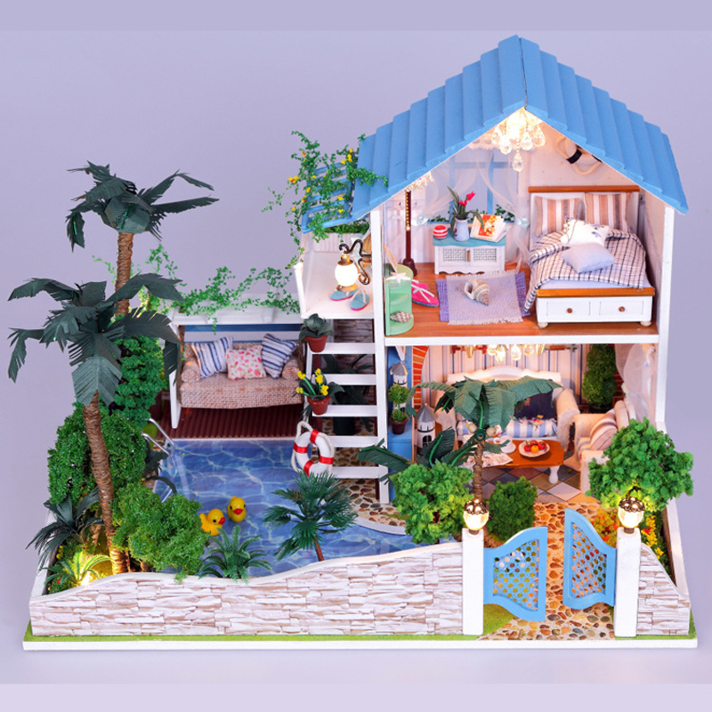 Здесь продается  DIY DollHouse Miniature With Furnitures 3D Wooden Doll House Handmade Villa Model Toys Gift The House Full Of Romance 13832 #D  Игрушки и Хобби