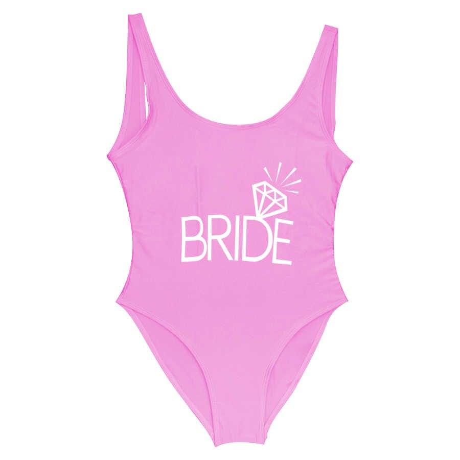 ทีมเจ้าสาวพิมพ์เพชรรูปแบบ One Piece ชุดว่ายน้ำผู้หญิงชุดว่ายน้ำเซ็กซี่งานแต่งงาน Bachelor Party ชุดว่ายน้ำชุดว่ายน้ำ