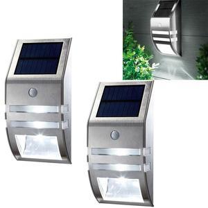 Image 1 - 2pcs Waterproof IP65 Solar light Outdoor Garden Security Led Solar Powered Panel Lamp Wall Lampada PIR Motion Sensor Decorative