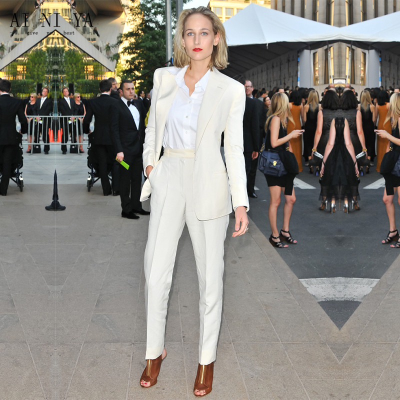 New White Trouser Suit 2 Piece Set Women Office Suits For Women Blazer Set Elegant Pant Suits Office Uniform Style CUSTOM