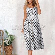 купить CUERLY Fashion Sundress Women Summer Dress 2019 Boho Sexy Dress Midi Button Backless Polka Dot Striped Floral Beach Dress Female дешево