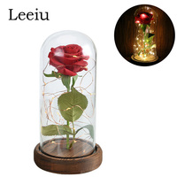 Leeiu Eternal Rose Flowers LED Artificial Flowers Red Rose in a Glass Dome on a Wooden Base Wedding Decoration Valentine's Gifts