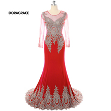 Hot Sale Applique Mermaid Long Sleeves Designer Evening Dresses Formal For Women DGE041