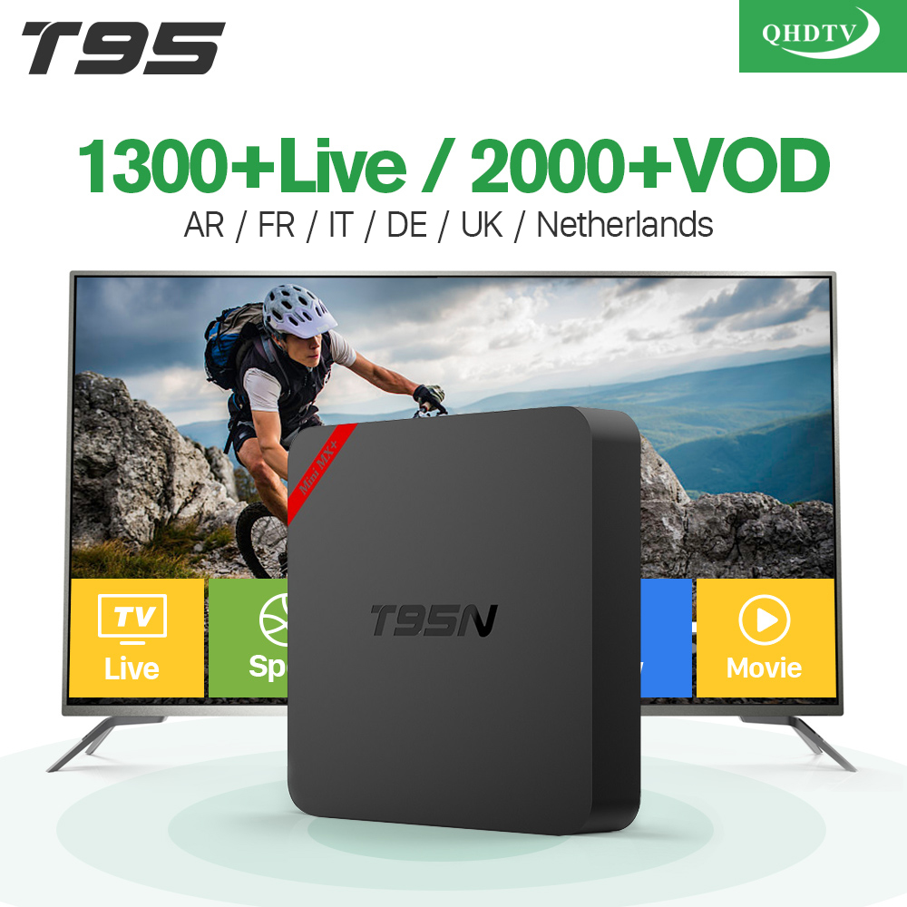 Super T95N Android 6.0 Smart TV Box 1300+ QHDTV Subscription Iptv Arabic Europe Channels 8GB ROM Powerful S905X CPU Set Top Box