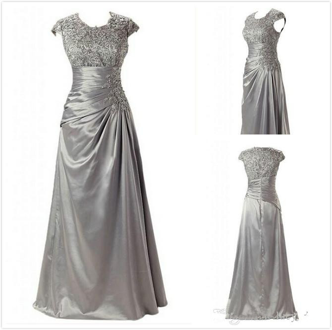 Hot Sale Cap Sleeves Mother Of The Bride Dresses 2019 Vestido De Madrinha Pleating Beads Stretch Satin Evening Gown Ruched