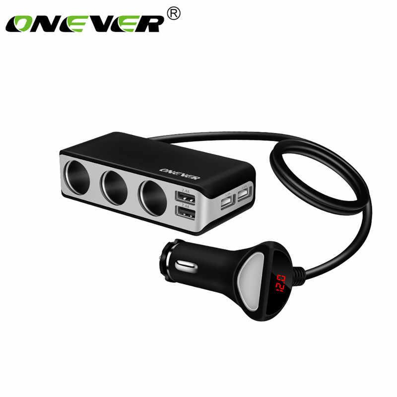 Onever 4 منفذ USB للسيارة شاحن 3 طريقة سيارة الفاصل ولاعة السجائر المقبس محول الطاقة مع الفولتميتر شاحن آيفون باد