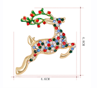 Christmas Gift Jewelry Luxury Brooch Gold-Color with Red Green Enamel Colorful Rhinestone Lovely Deer Brooches for Lady