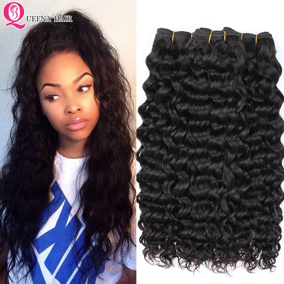 Queena Weave Virgin-Hair Water-Wave Hair-Products Human-Hair-Bundles Black Natural Peruvian