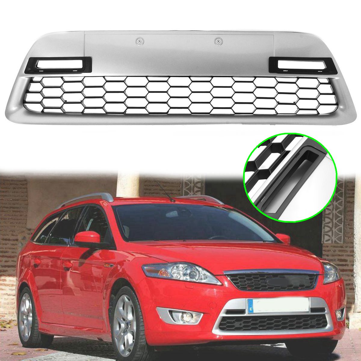105cm Auto Radiator Centre Bumper Grille Panel Cover Car Grill Panel Trim for FORD Mondeo MK4 2007-2010 front radiator centre grille panel for ford for focus mk3 st line radiator grill bumper honeycomb mesh cover moulding part