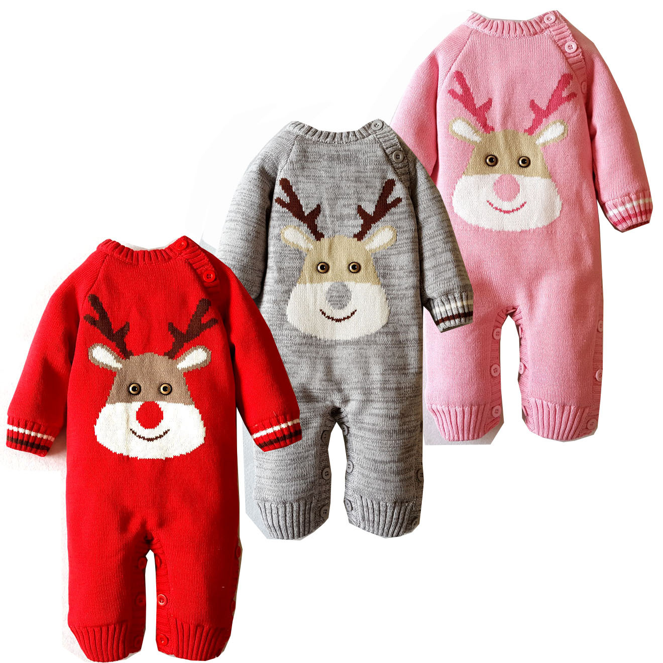 2018 autumn winter baby boy girl Rompers Christmas Newborn  Clothes Knitted Sweater Infant Jumpsuits Outerwear Kid Boy Clothes newborn baby rompers autumn winter package feet baby clothes polar fleece infant overalls baby boy girl jumpsuits clothing set